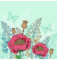 Red poppy flowers and butterflies vector