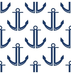 Retro marine blue anchors seamless pattern vector
