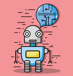 robbot technology with chat bubble code vector image