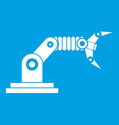 Robotic hand manipulator icon white vector