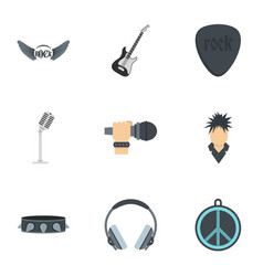 rock music icon set flat style vector image