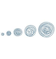 round tangled line size set sketch pen hatched vector image