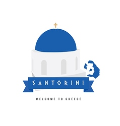 santorini island greece symbol in blue and white vector image