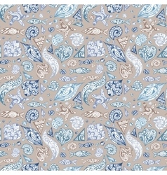 Sea Life Vintage Pattern vector image