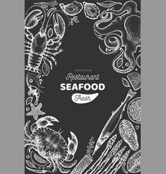 seafood and fish design template hand drawn on vector image