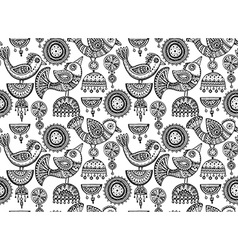 seamless pattern with hand drawn fancy birds vector image