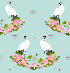 Seamless pattern with japanese cranes and flowers vector