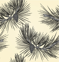 Seamless texture Pine branch and pine cone as vint vector image