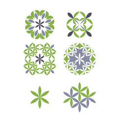 Set abstract template logo design with foliage vector