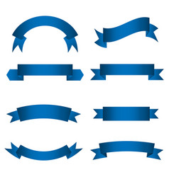 set blue ribbon banner icon vector image
