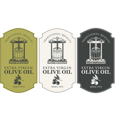 set labels for olive oil with oil press and vector image