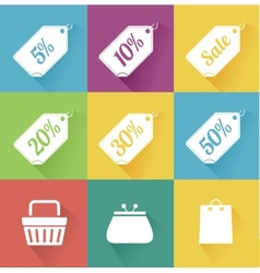 set of modern flat sale icons Shopping vector image vector image