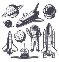 Set of vintage space elements vector