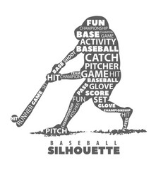Silhouette of baseball player on white background vector
