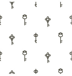 Silver keys seamless pattern on white thin vector