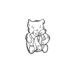 sketch doodle drawing icon of toy bear with a gift vector image