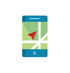 Smartphone destination arrow gps map and vector