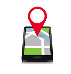 Smartphone navigation icon and map with red marker vector