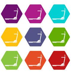 sport treadmill running road equipment icon set vector image