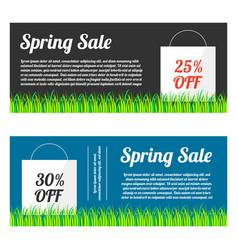 Spring sale banner set vector