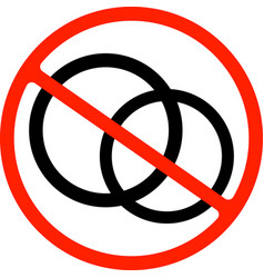 stop or ban sign wedding rings icon bride and vector image