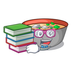Student with book delicious meal of miso soup vector