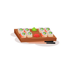 Sushi rolls wasabi and ginger on wooden board and vector