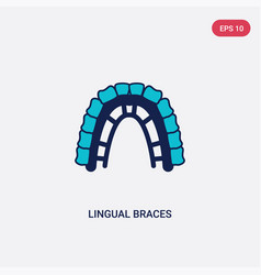 Two color lingual braces icon from dentist vector