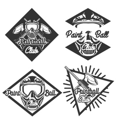 Vintage paintball emblems vector