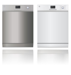 Washing machine modern metal house appliance vector