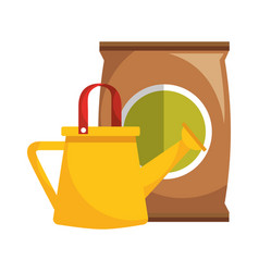 Watering can and sack soil gardening vector