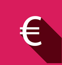 White flat euro icon with long shadow vector