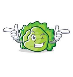 Wink lettuce character cartoon style vector