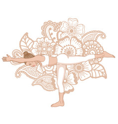 Women silhouette warrior 3 yoga pose vector