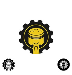 Car piston with pulley gear tech logo vector image vector image