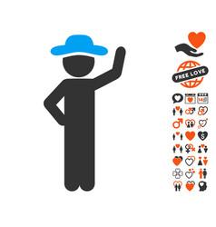 gentleman assurance icon with valentine bonus vector image vector image