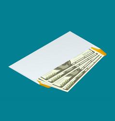 isometric white envelope with money send money vector image