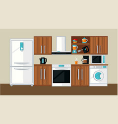 kitchen interior template vector image vector image