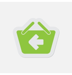 Simple green icon - shopping basket back vector