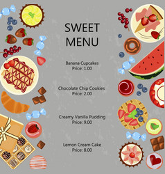 sweet restaurant menu template vector image