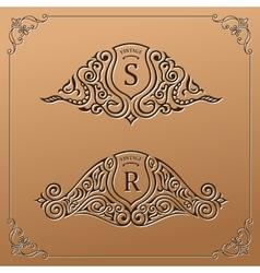 Vintage gold logo set Flourishes crest vector image