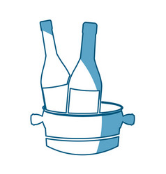 Bottles wine with bucket cold shadow vector