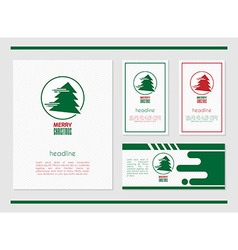 card template with Christmas tree vector image vector image