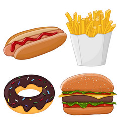 fast food isolated on white vector image