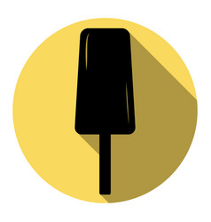 ice cream sign flat black icon with flat vector image