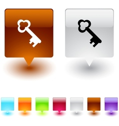 Key square button vector image