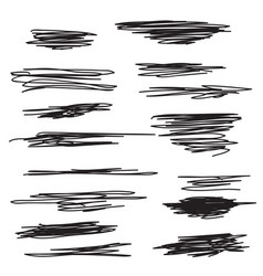 scribble brush strokes set vector image vector image