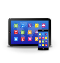 tablet pc and touchscreen smartphone vector image vector image
