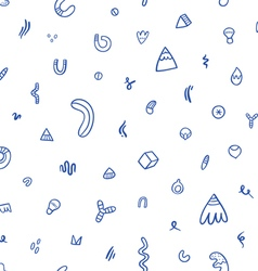 Abstract blue doodles seamless pattern vector image vector image