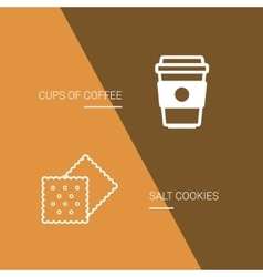 Coffee and cookie icon on brown background vector image